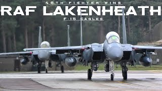Great sounding US Air Force F-15 Eagles at RAF Lakenheath in England