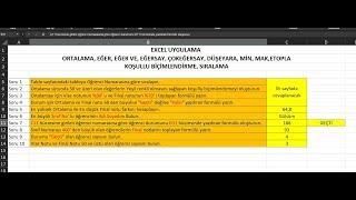 Excel Uygulama Sınav Soruları ve Cevapları