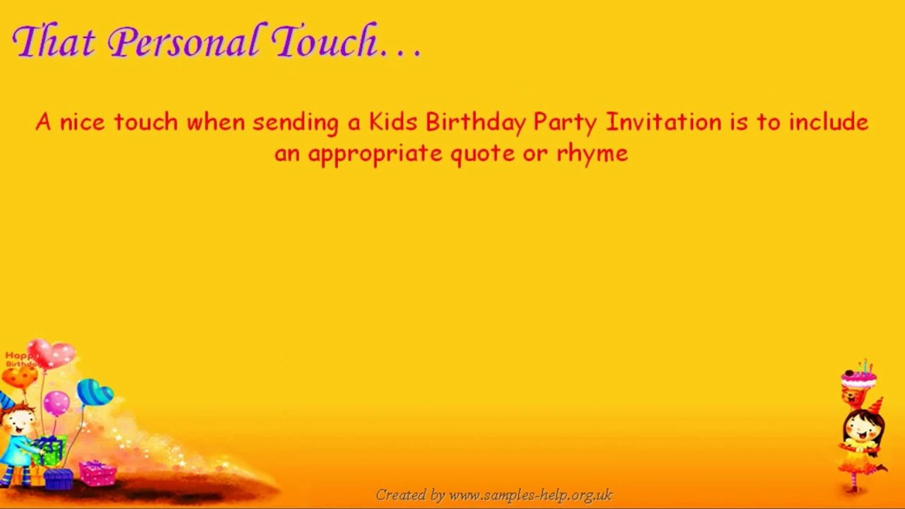 Kids Party Invitation Wording