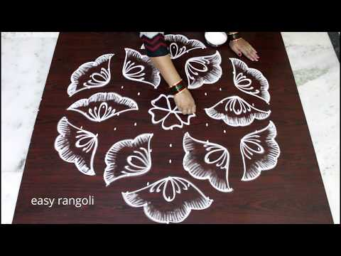 Sankranthi flower muggulu with 13x7 dots | pongal special kolam designs | easy  rangoli