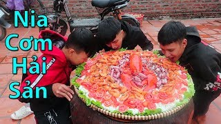 Hữu Bộ | Làm Nia Cơm Hải Sản Khổng Lồ | Giant Seafood Rice Tray