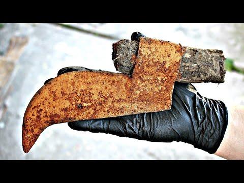 Antique Rusty Hatchet Axe Restoration