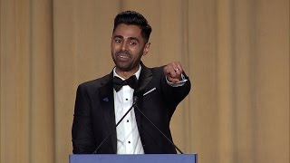 Comedian Hasan Minhaj takes up the stage at the White House Correspondents Dinner