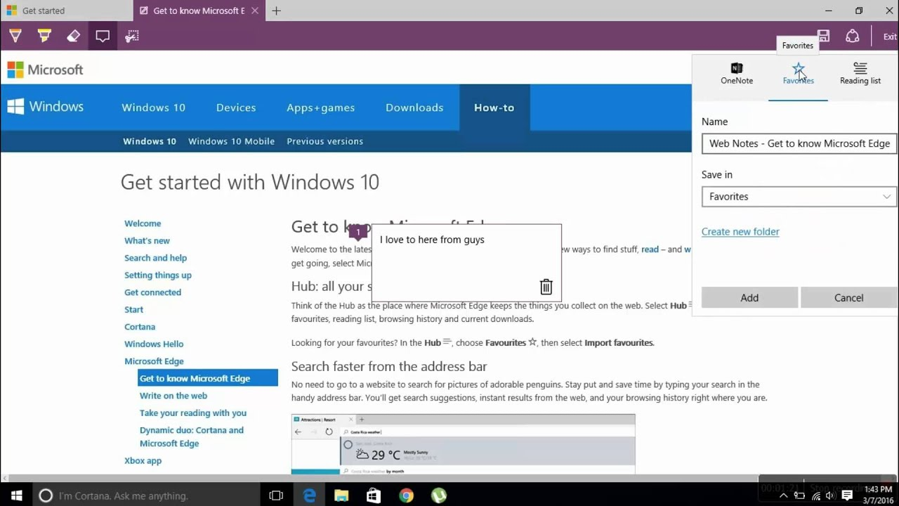 Windows 10 how to save and open web note in microsoft Where can i make a website