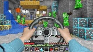 Minecraft but I actually use a steering wheel to play..