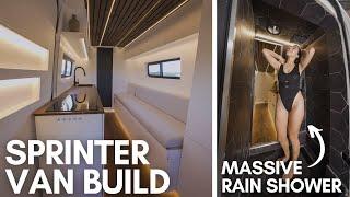 FULL VAN BUILD | RĄIN SHOWER IN A SPRINTER VAN | LUXURY MODERN Tiny Home for Full Time VANLIFE!
