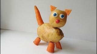 Кошка из картошки. Как сделать осеннюю поделку из овощей в детский сад и школу.