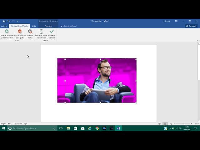 Quitar fondo a imagen con Microsoft Word 2016