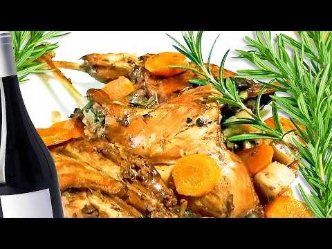Roast Rabbit In Red Wine Sauce And Braised Vegetables