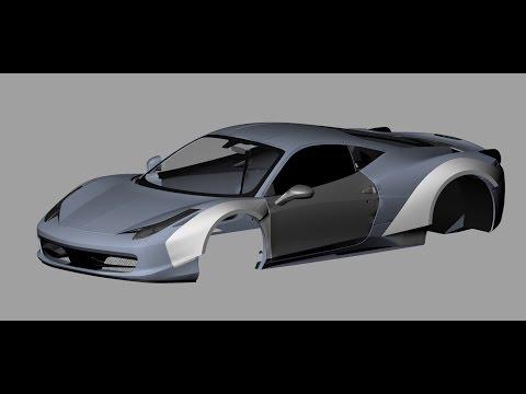 Rhino 3D Tutorial for modeling Ferrari 458 Italia wide body fenders