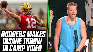 Pat McAfee Reacts Aaron Rodgers Makes An INSANE Throw Into A Bucket