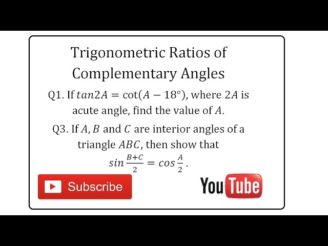Trigonometric Ratios of Complementary Angles Problems (2) | Hindi