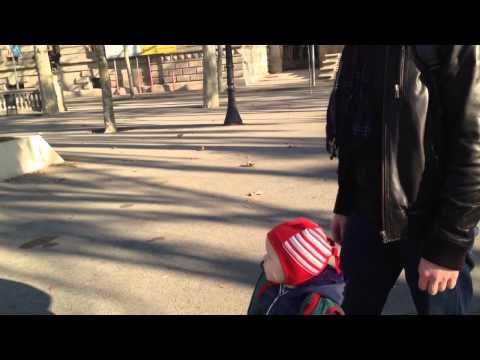 Гоша гуляет у Триумфальной арки в Барселоне