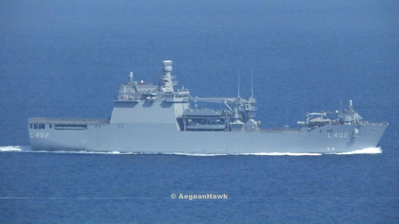 Αποτέλεσμα εικόνας για Turkish Navy LST Bayraktar class L402 and LCT 151 class C157 southbound Chios Strait.
