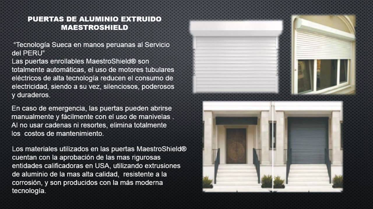 Puertas enrollables de aluminio en per youtube for Puertas enrollables