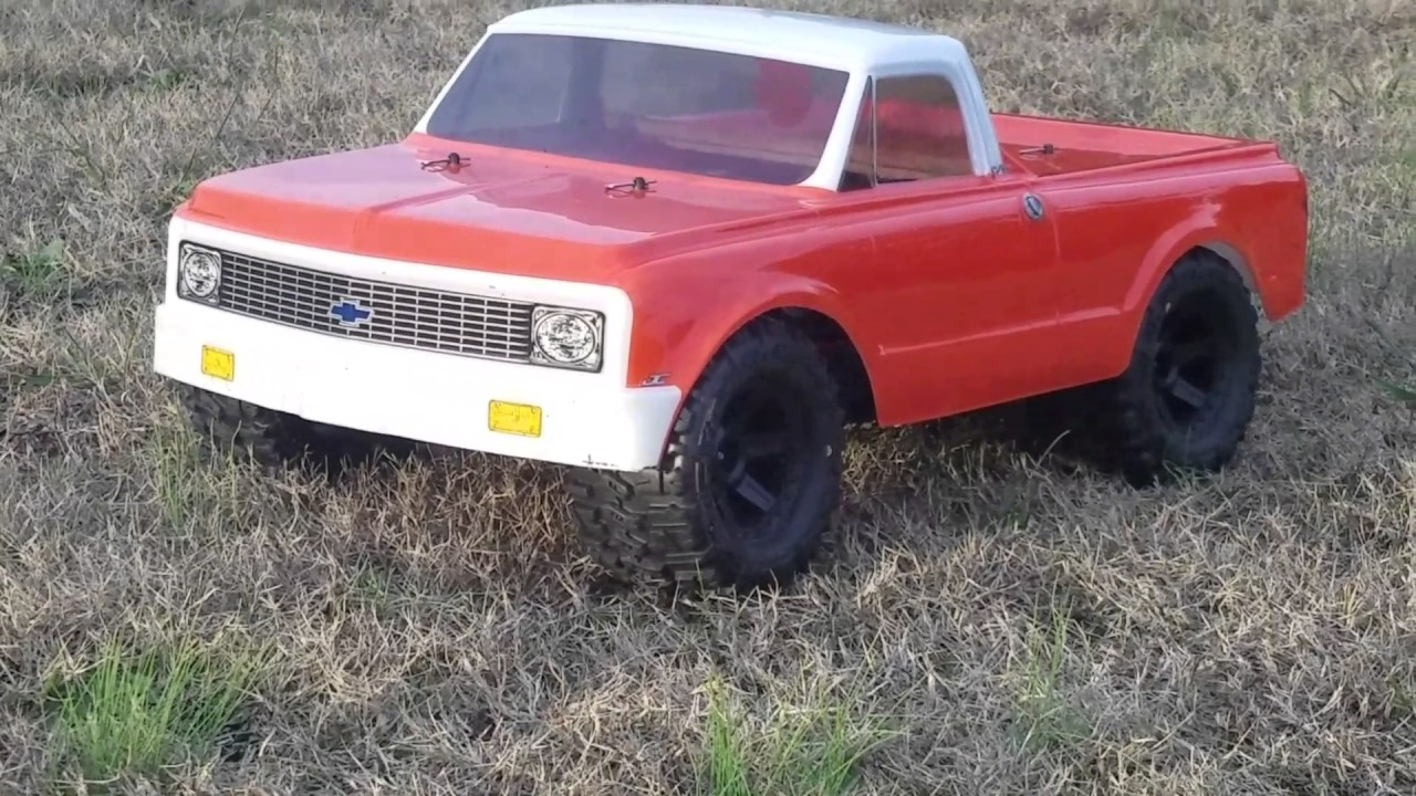 J Concepts 1972 Chevrolet C10 body on Traxxas Slash with 2 8 Trenchers
