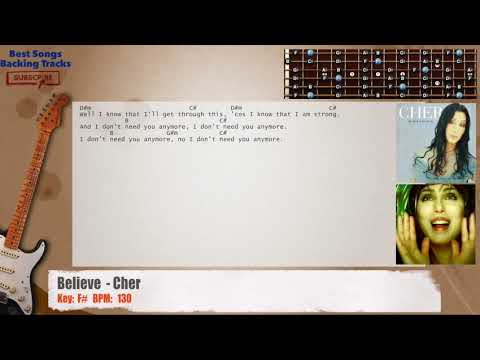 Believe Cher Guitar Backing Track With Chords And Lyrics Youtube