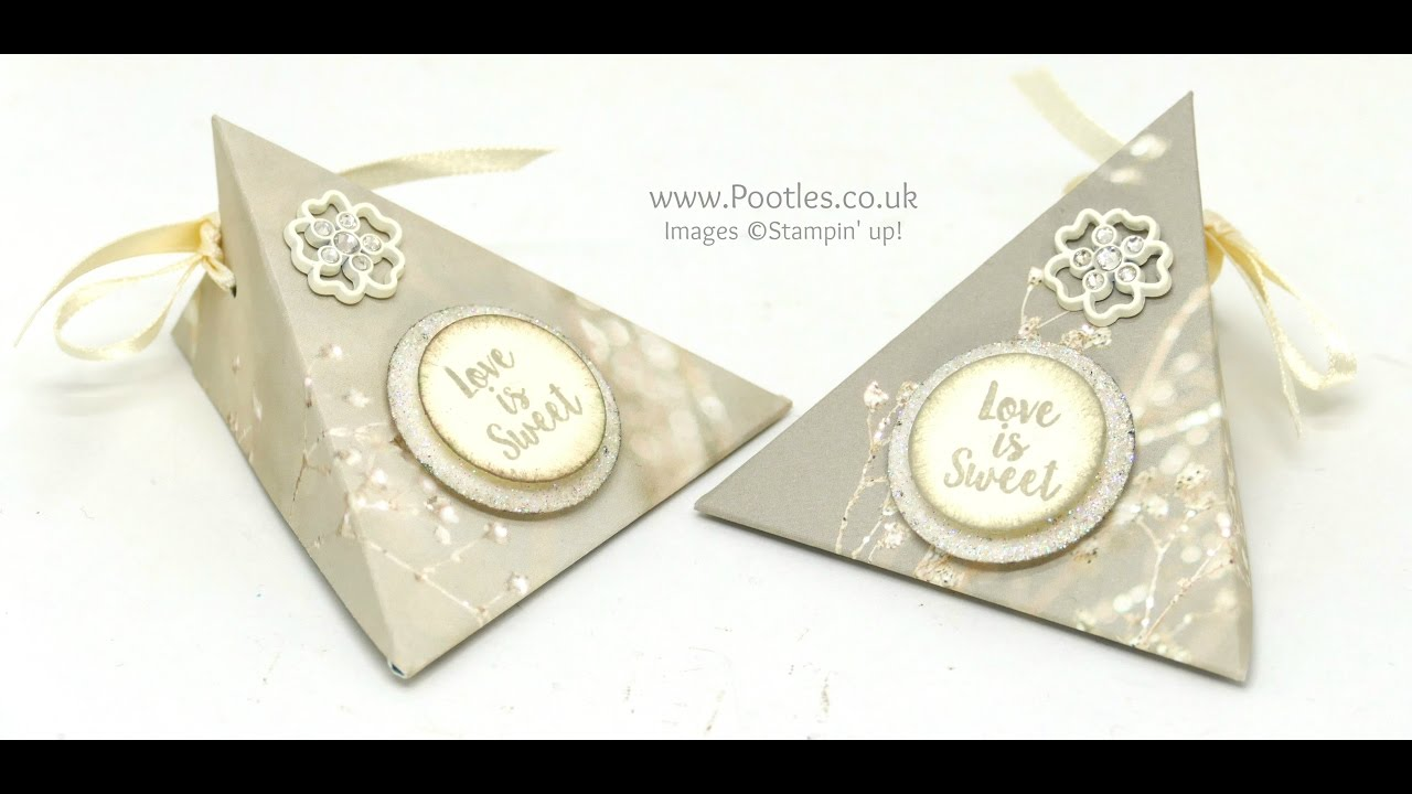 Wedding Favour Triangle Pouches using Stampin\' Up! Supplies - YouTube