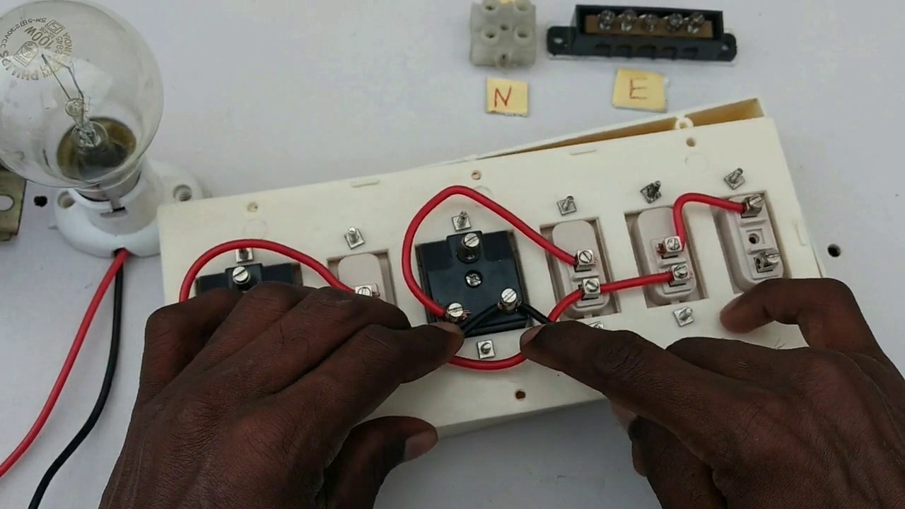 switch box connection one indicator three switch two socket in rh youtube com wiring socket to light switch Lamp Socket Wiring Diagram