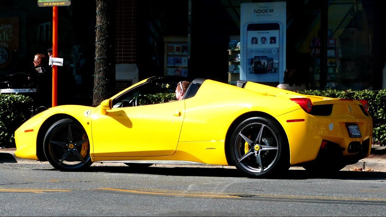 Yellow Ferrari 458 Spider - YouTube