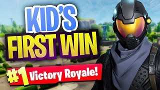"Helping little kid ""Derp"" get his FIRST Fortnite WIN... (Fortnite Battle Royale Random Duos)"