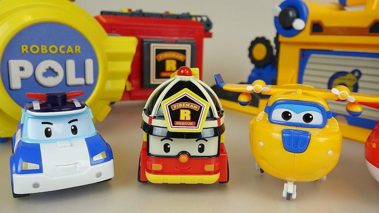 Robocar poli car station and super wings robot airplane toys youtube - Radio car poli ...
