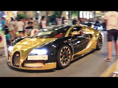 Gold Bugatti Veyron Driving and Details - YouTube