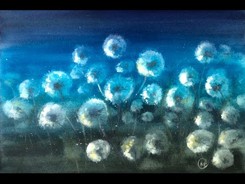 Watercolor Dandelions at Night Painting Demonstration