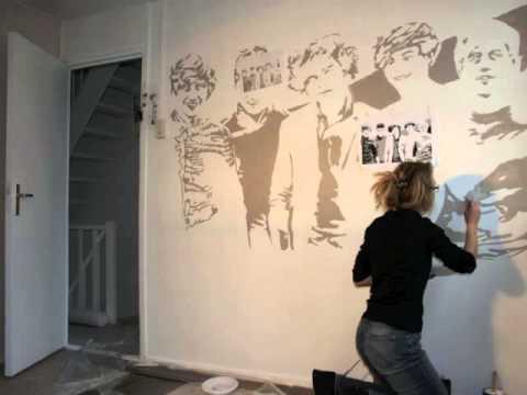 zo maken we een muurschildering one direction youtube