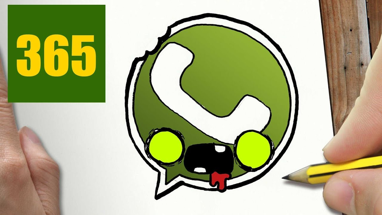 Comment Dessiner Logo Whatsapp Zombie Kawaii étape Par étape Dessins Kawaii Facile