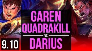 GAREN vs DARIUS (TOP) | Quadrakill, KDA 12/0/8, Legendary | Korea Diamond | v9.10