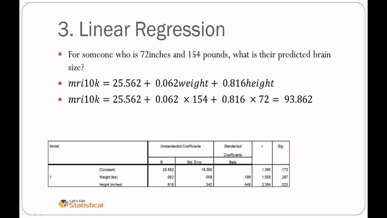 how to write a regression equation from a table