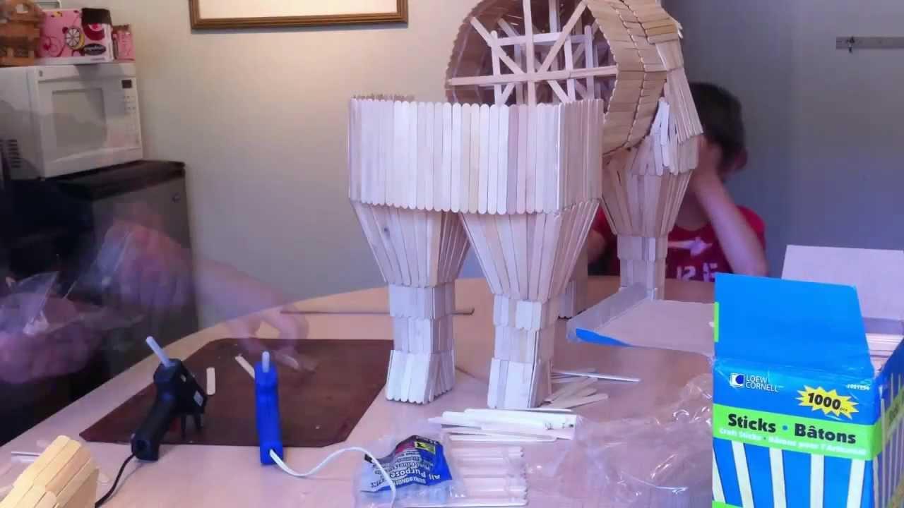 trojan horse popsicle sticks time lapse youtube