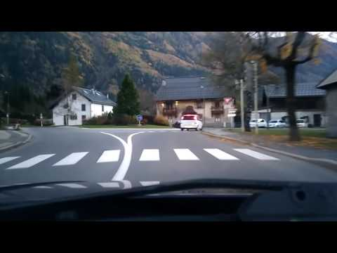 Driving on D1506 in Chamonix-Mont-Blanc, Haute-Savoie, France
