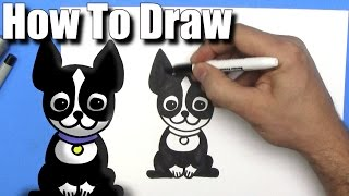 How To Draw a Cute Cartoon Boston Terrier - EASY Chibi - Step By Step - Kawaii