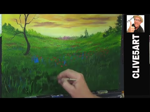 Landscape Of Flowers, Acrylic painting for beginners, Acrylic painting,clive5art