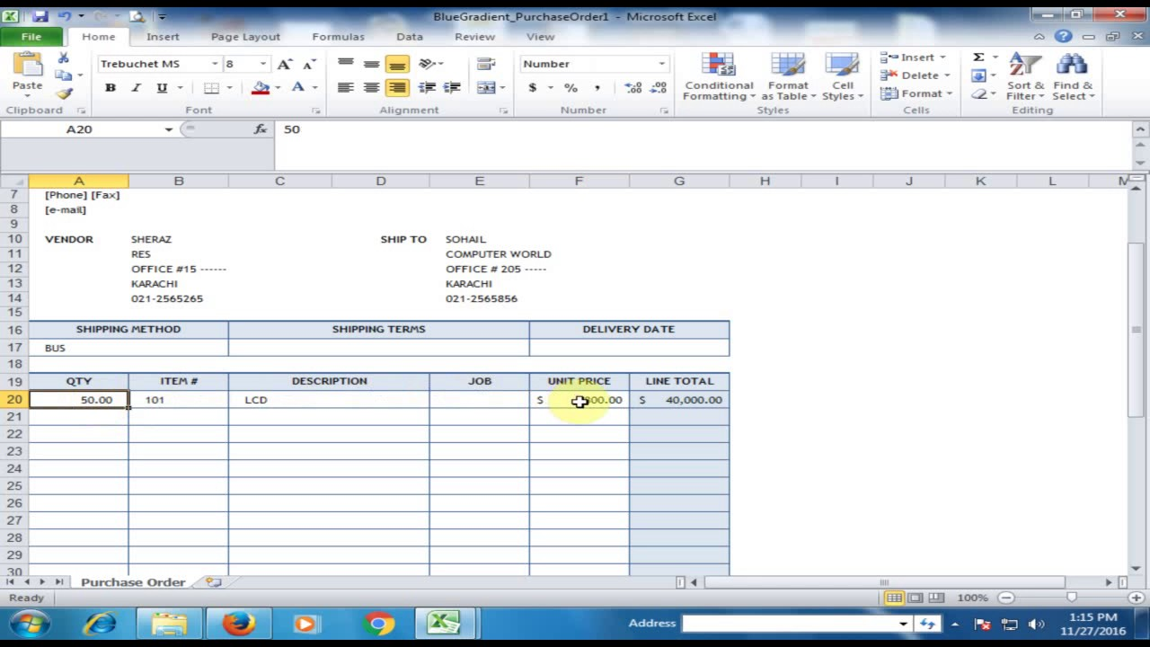 generate automatic purchase order po in microsoft excel excel