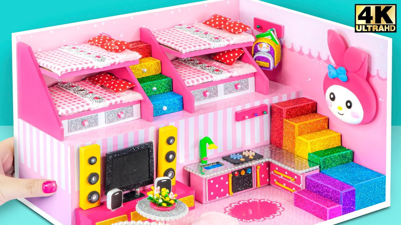 Build Two Floor Cute Pink House Have 2 Bedroom with 2 Bunk Bed ❤️ DIY Miniature Cardboard House #361