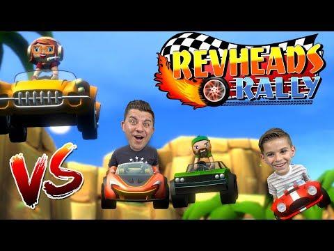 REV HEADS RALLY!! Dad vs Daylin | Mobile Multiplayer Combat Kart Racing