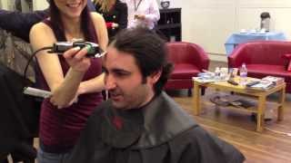 Marco is having his hair chopped off for Leukaemia & Lymphoma Research
