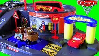 DisneyPixarCars Auto Parking Garage Playset with Lightning McQueen Piston Cup Bus Unboxing thumbnail