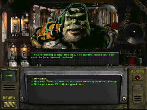 Fallout 2 Marcus' character as shown in dialogue