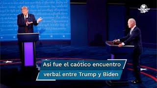 El presidente Donald Trump y el candidato demócrata Joe Biden se enfrentaron en el primero de tres debates presidenciales de la contienda de 2020 con un duro cruce de acusaciones