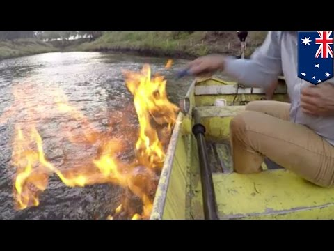 Australian river catches fire near gas fracking site