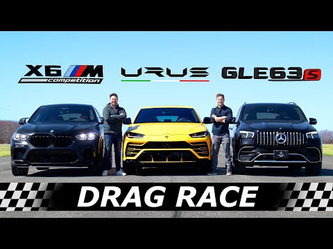2021 BMW X6M Competition vs Mercedes-AMG GLE 63S vs Lamborghini Urus // DRAG & ROLL RACE