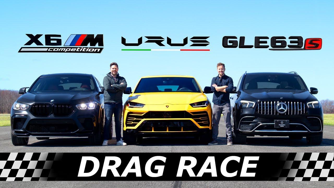 2021 BMW X6M Competition vs Mercedes-AMG GLE 63S vs Lamborghini Urus // DRAG & ROLL RACE