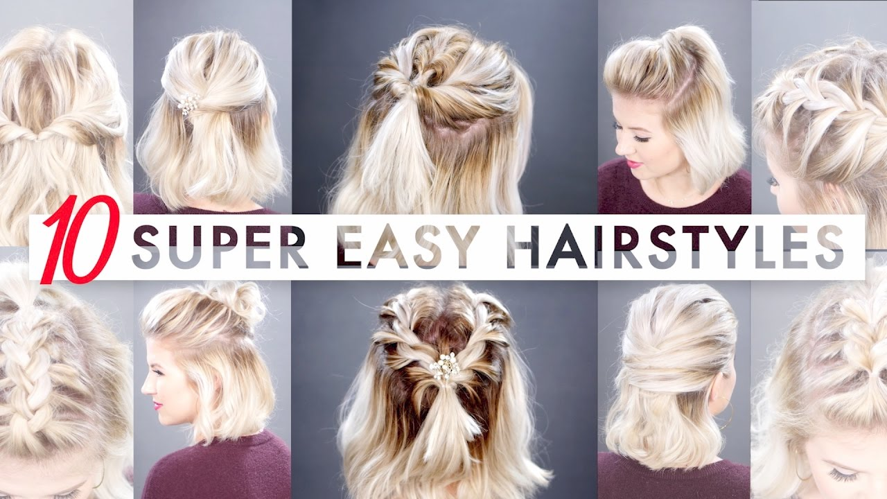 Cute Hair Styles For Medium Hair: 10 Easy Half Up Hairstyles For SHORT HAIR Tutorial