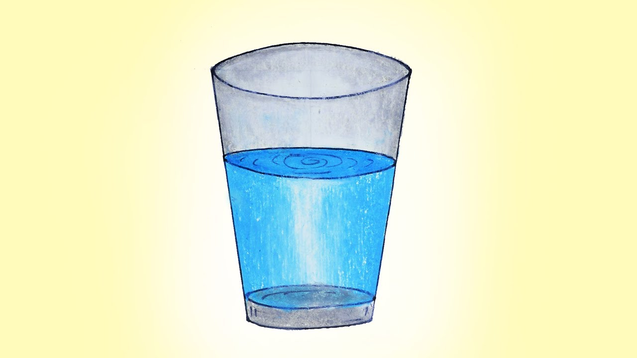 how to draw glass with water easy and simple glass drawing very easy