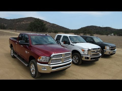2014 Ram 2500 HD vs Ford F-250 vs Chevy Silverado 2500 0-60 MPH Mashup Review