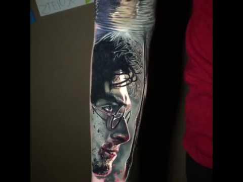 Harry potter tattoo by ben ocha youtube for Harry potter sleeve tattoo